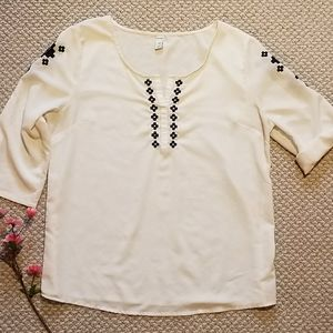 OLD NAVY Ivory sheer blouse with floral embroidery
